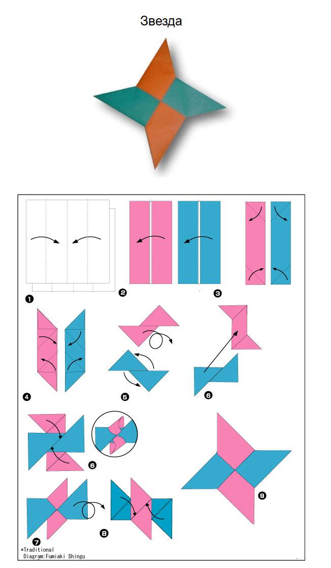 Как сделать сюрикен из бумаги из 1 листа бумаги